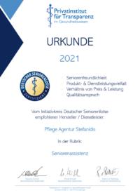 Urkunde_Pflege Agentur Stefanidis